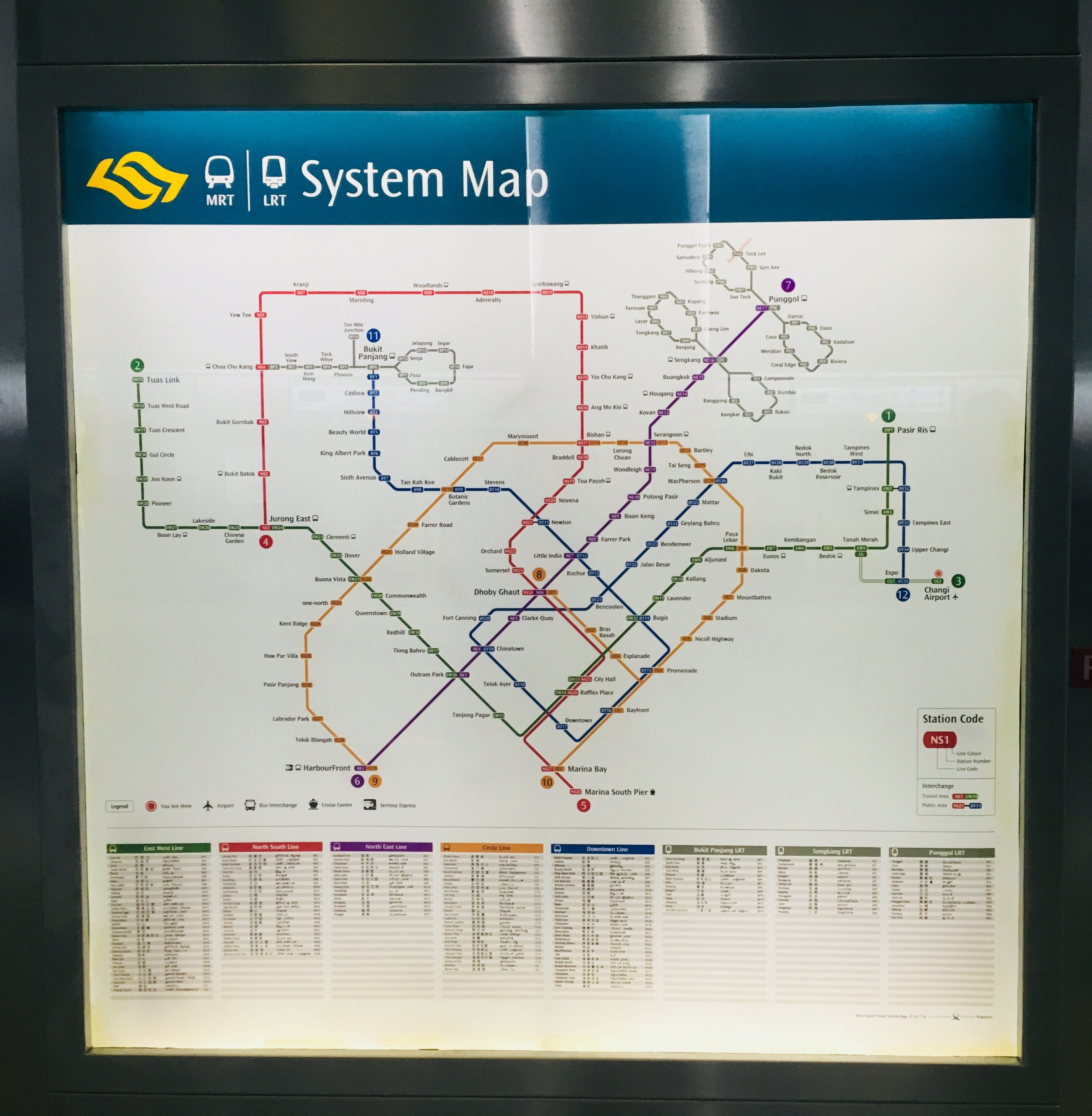 MRT map for Singapore