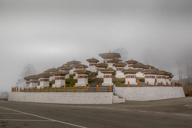 108 memorial chortens at Dochula Pass